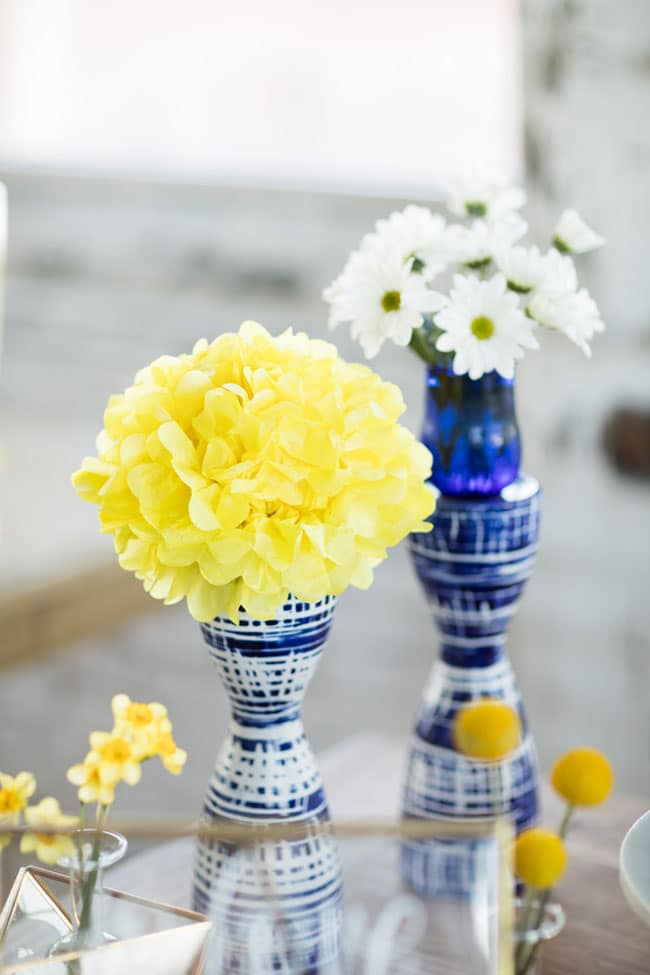 Modern Navy and Yellow Bridal Shower Flowers
