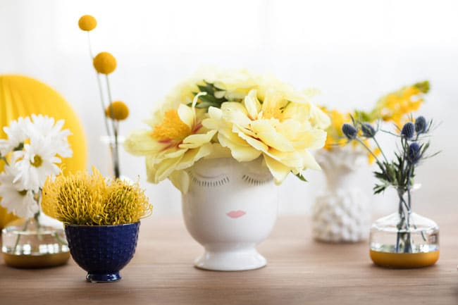 Blue and Yellow Bridal Shower Arrangements