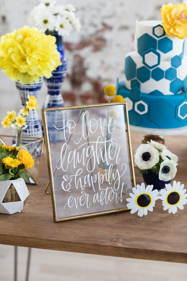 Modern Navy and Yellow Bridal Shower Sign