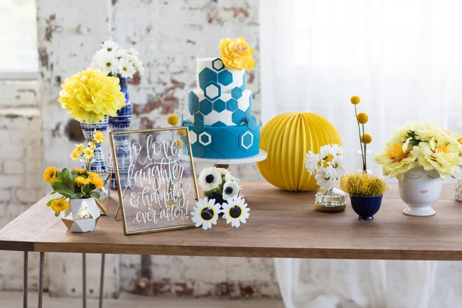 Modern Navy and Yellow Bridal Shower Decorations