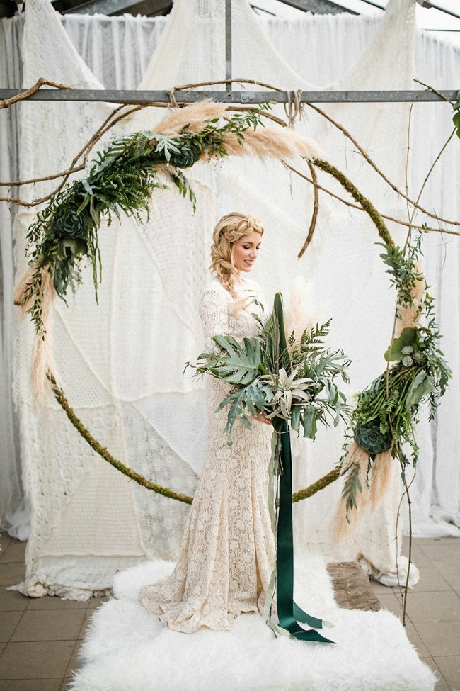 Boho inspired circle ceremony arch