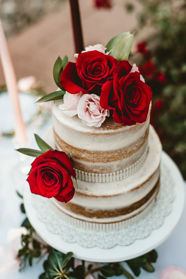 Naked Garden Wedding Cake with Flowers