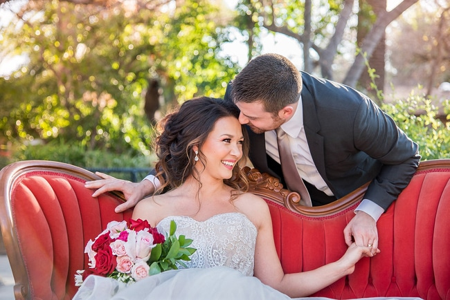 Romantic Garden Wedding Couple