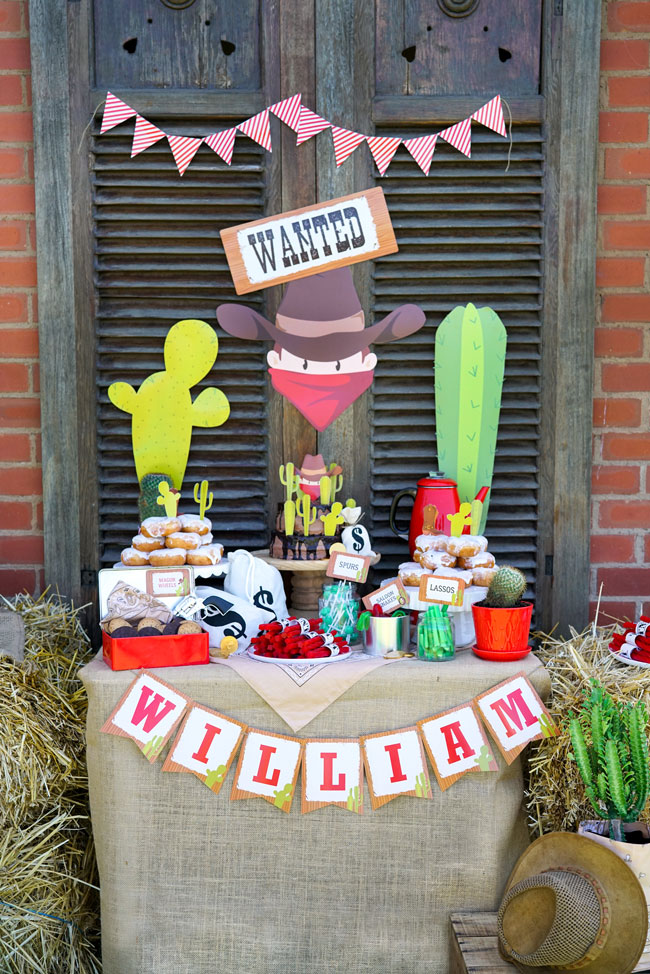 Wild West Cowboy Themed Birthday Party Dessert Table