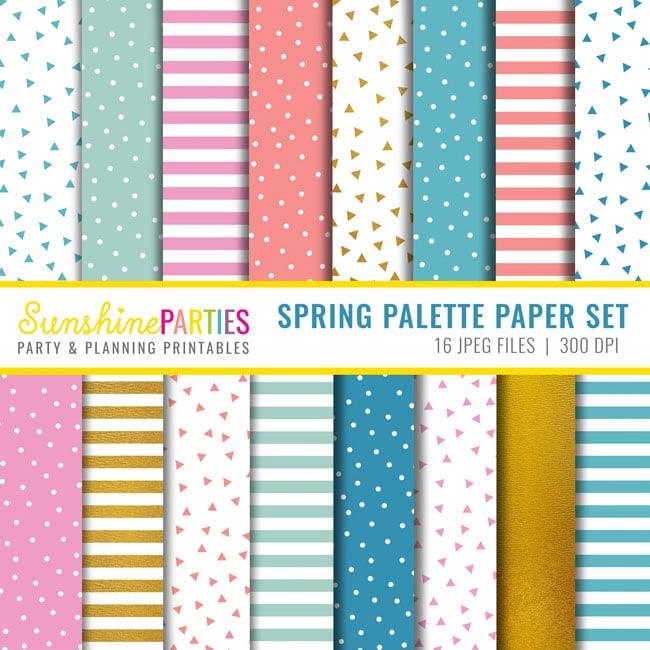 Spring digital paper set