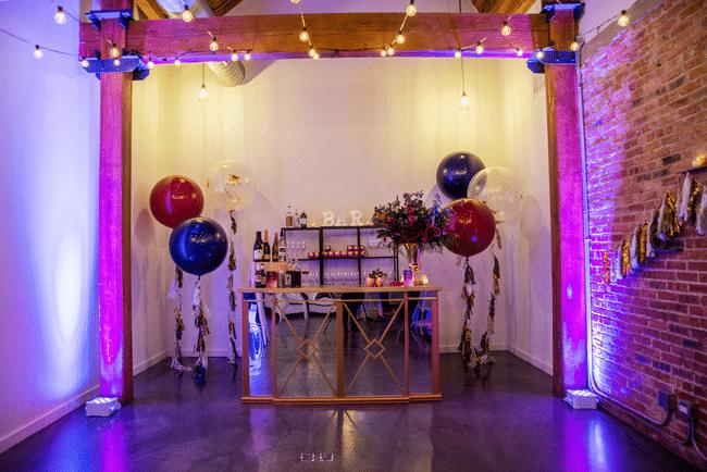 Purple Glam 40th Birthday Party Bar Area
