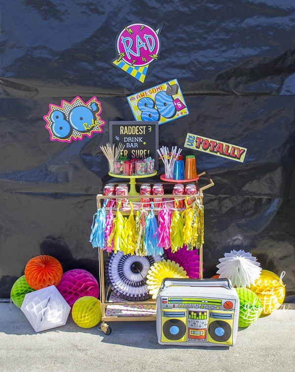 80s theme party drink station