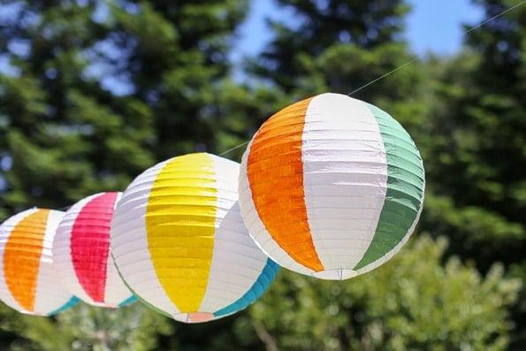 DIY Beach Ball Paper Lantern - Pool Party Ideas