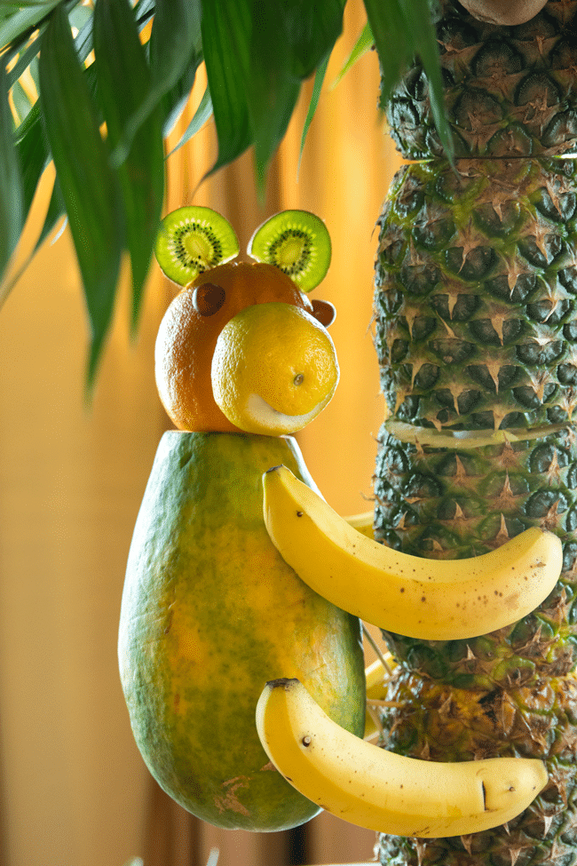 Fun Jungle Theme Baby Shower Fruit Monkey