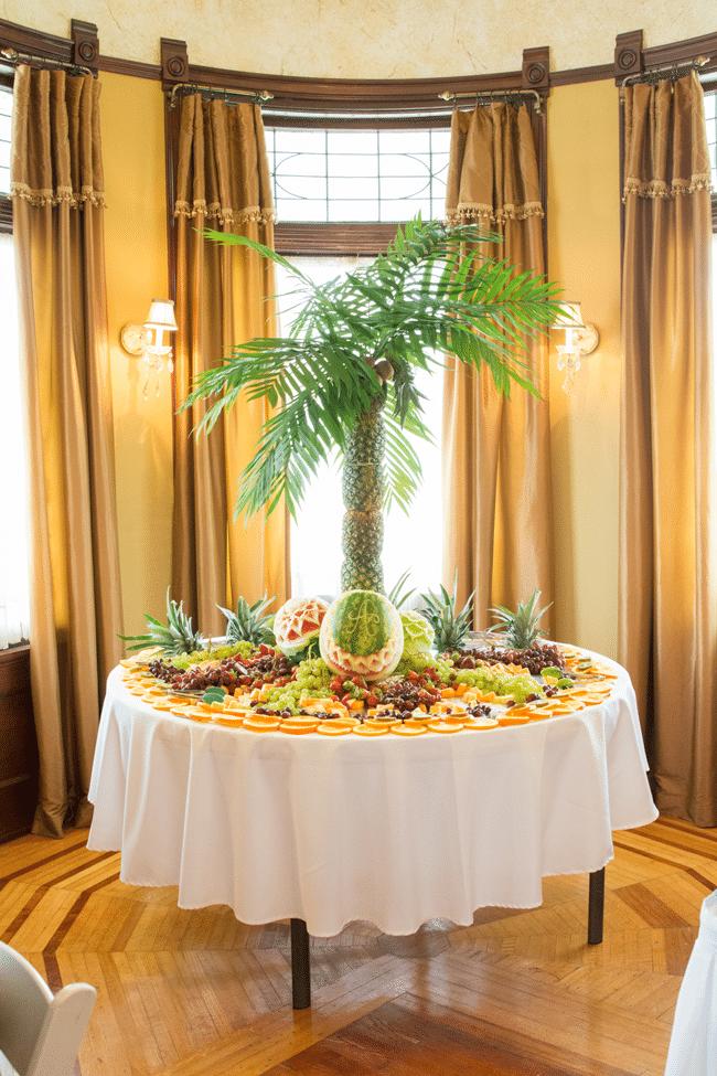 Jungle Theme Baby Shower Pineapple Palm Tree Fruit Display