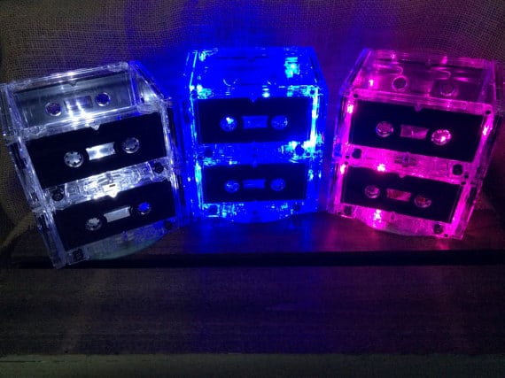 Light up casette tape centerpieces for 80s theme party