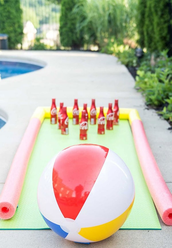 Pool Party Game - DIY Beach Ball Bowling