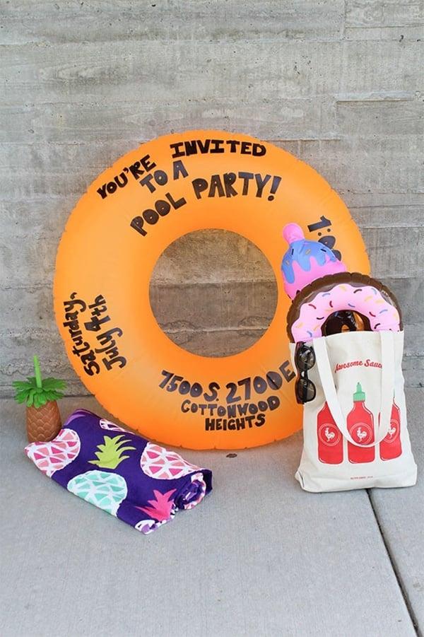 DIY Pool Float Party Invitation