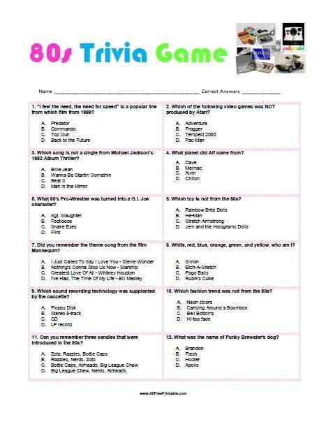 Free 80s Trivia Game Printable