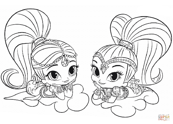 Free Shimmer and Shine Coloring Pages for Shimmer and Shine Party Activity