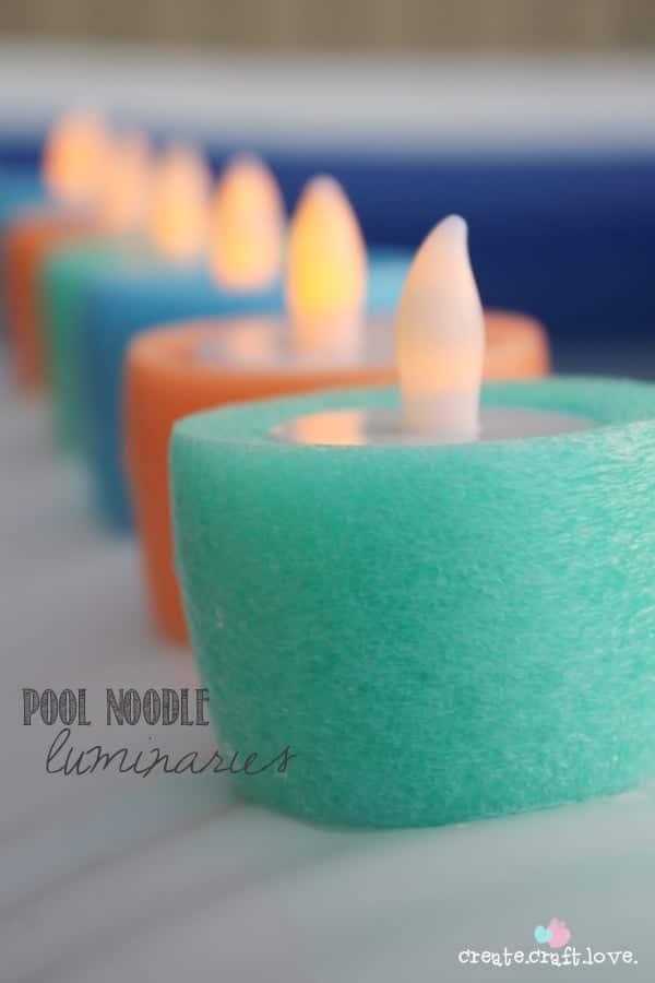 DIY Pool Noodle Luminaries - Pool Party Ideas