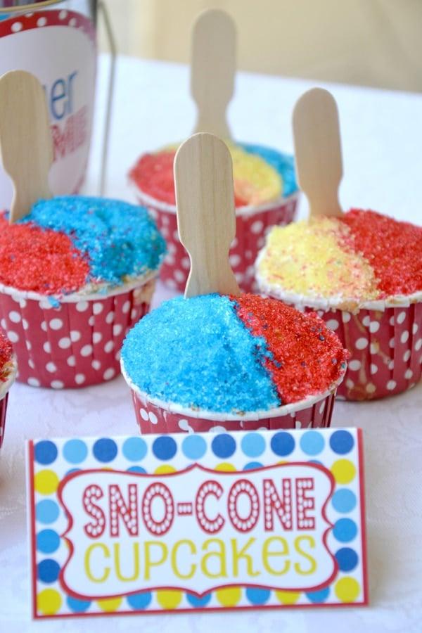 Snow Cone Cupcakes - Pool Party Ideas