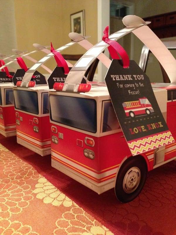 Fire Truck Party Favor Boxes