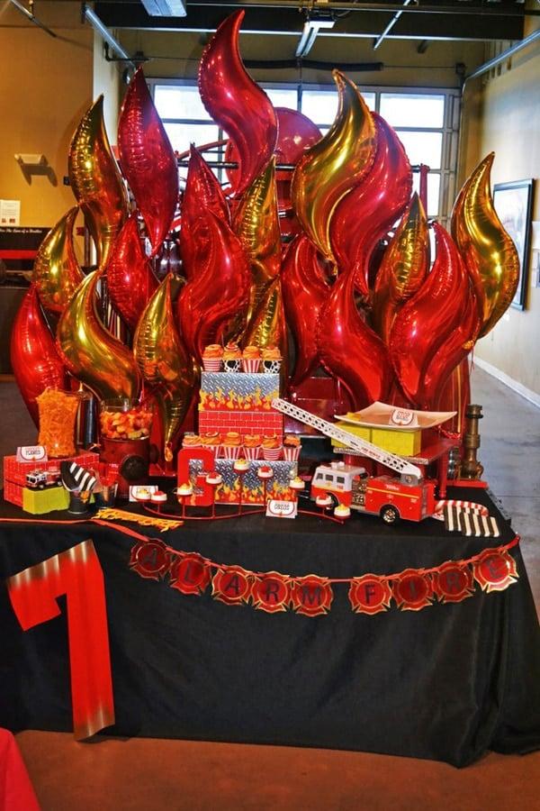 Fireman Birthday Party Dessert Table
