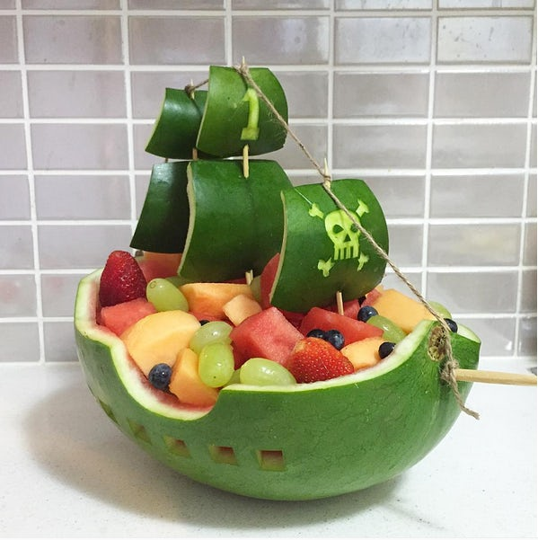 Pirate Ship Watermelon Carving