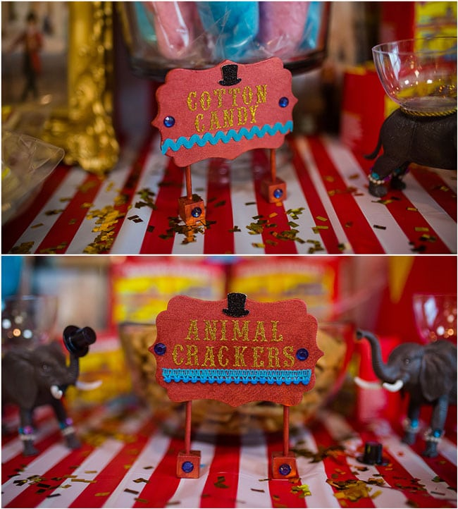 Circus Theme Party Food Signs