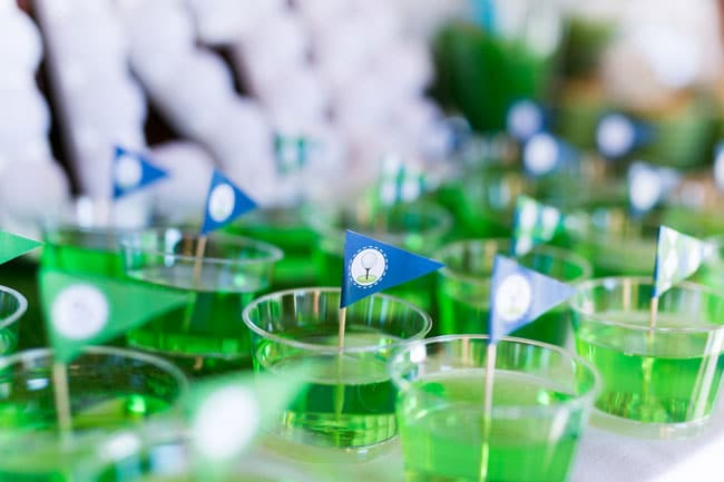 Golf Themed Party Green Jello with Golf Party Printables