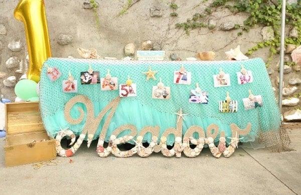 Mermaid Birthday Party First Year Photo Display