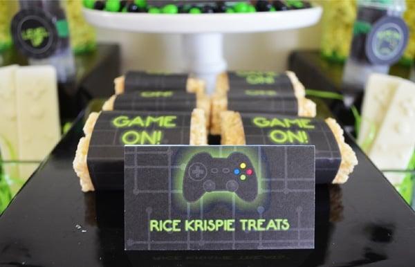 Gamer Birthday Party Rice Krispie Treats