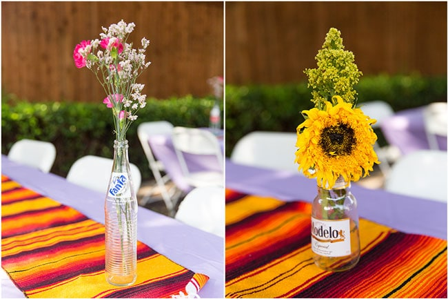 Fiesta Bridal Shower Flower Centerpieces