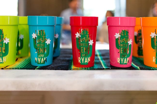 Fiesta Bridal Shower Personalized Cups