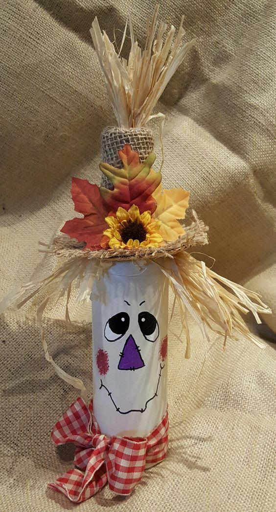 Scarecrow Wine Bottle Craft Idea