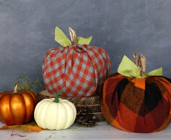 Easy DIY Toilet Paper Pumpkins wrapped in fabric