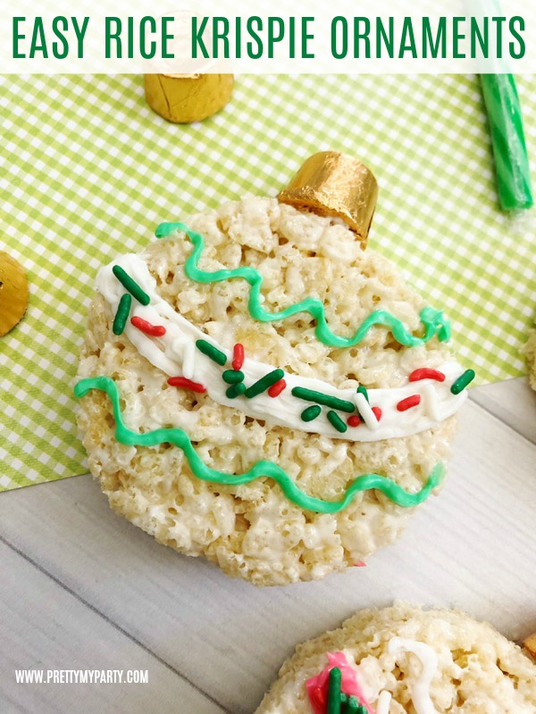 Easy Rice Krispie Treat Christmas Ornaments on Pretty My Party