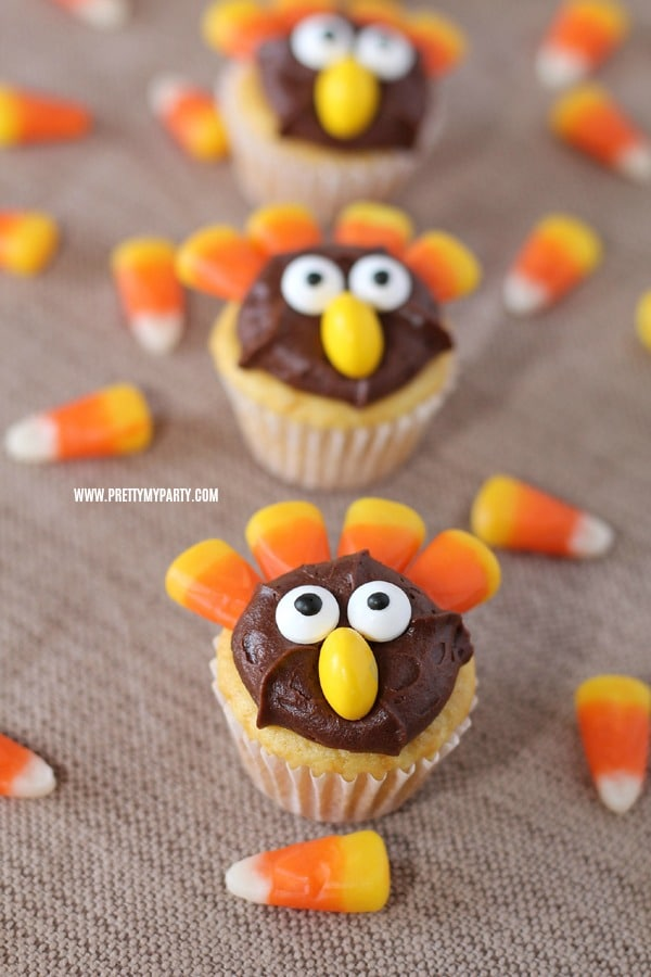 Fun Turkey Cupcakes on Pretty My Party