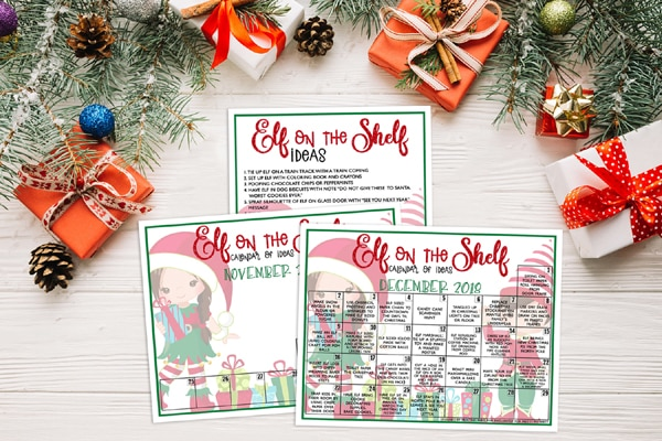 Printable Elf on the Shelf Calendar of Ideas on Pretty My Party