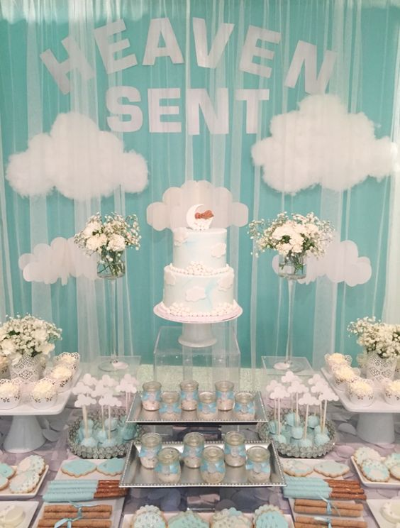 Heaven Sent Baby Boy Baby Shower Theme