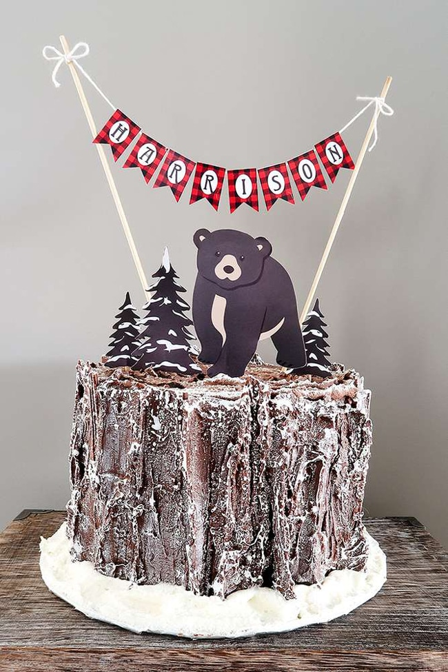 Baby Bear Lumberjack Birthday Cake - Awesome Birthday Cake For Boys on Pretty My Party