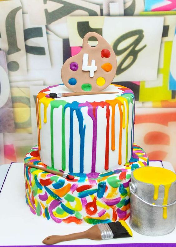 Art Party Cake - Awesome Birthday Cakes For Girls on Pretty My Party