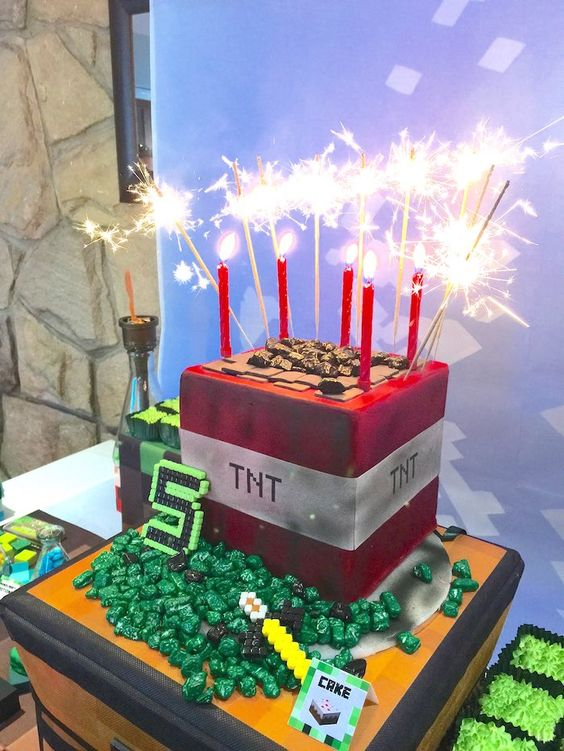 Minecraft Birthday Cake - Awesome Birthday Cakes For Boys on Pretty My Party