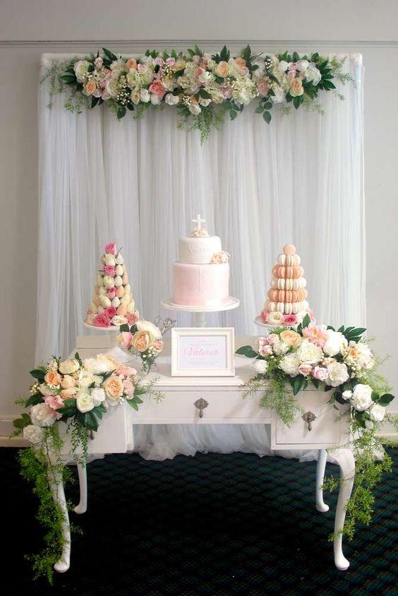 Gorgeous Baptism Cake Table Idea