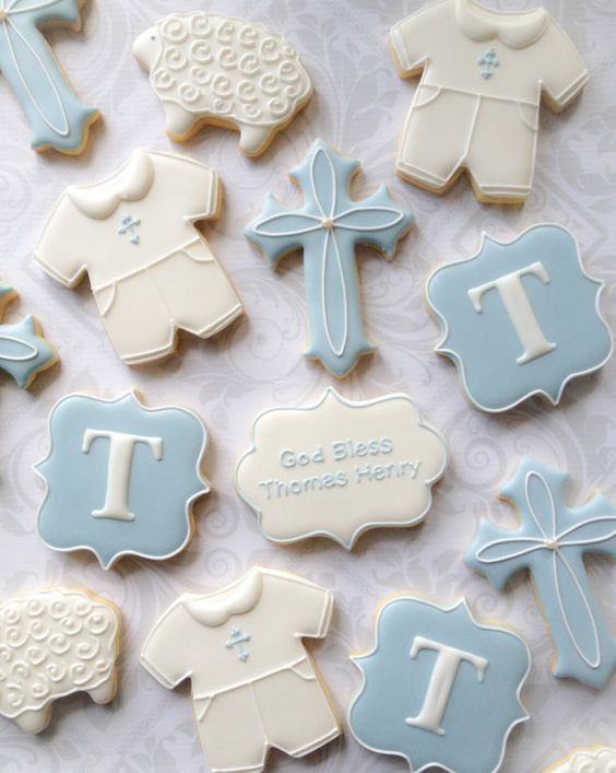 Boy Christening Cookies - Baptism Party Ideas