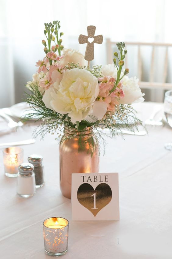 Christening Flower Table Centerpiece - Baptism Party Ideas