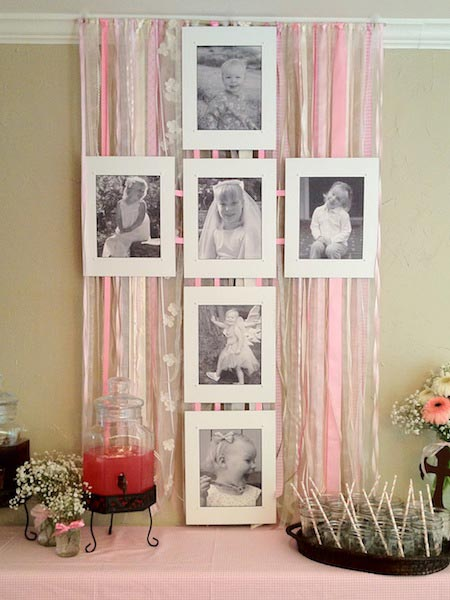 Cross photo display - Baptism and Christening Party Ideas