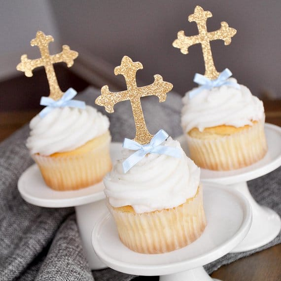 Gold Cross Cupcake Toppers - Christening Party Ideas