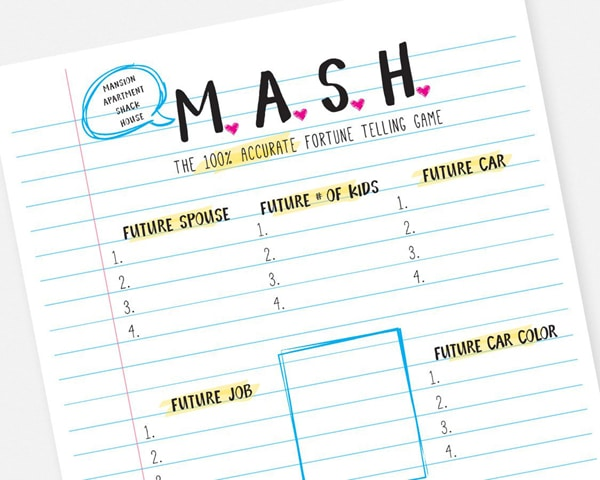 Mash Printable Party Game - Fun Sleep Over Party Ideas