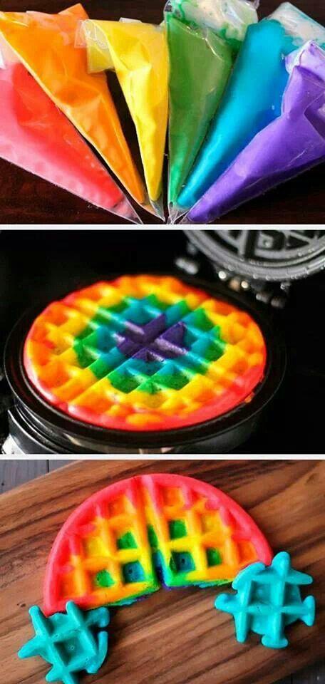 Rainbow Waffles - Slumber Party Ideas