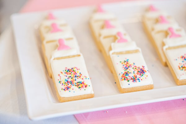 Baby Sprinkle Bottle Cookies on Pretty My Party