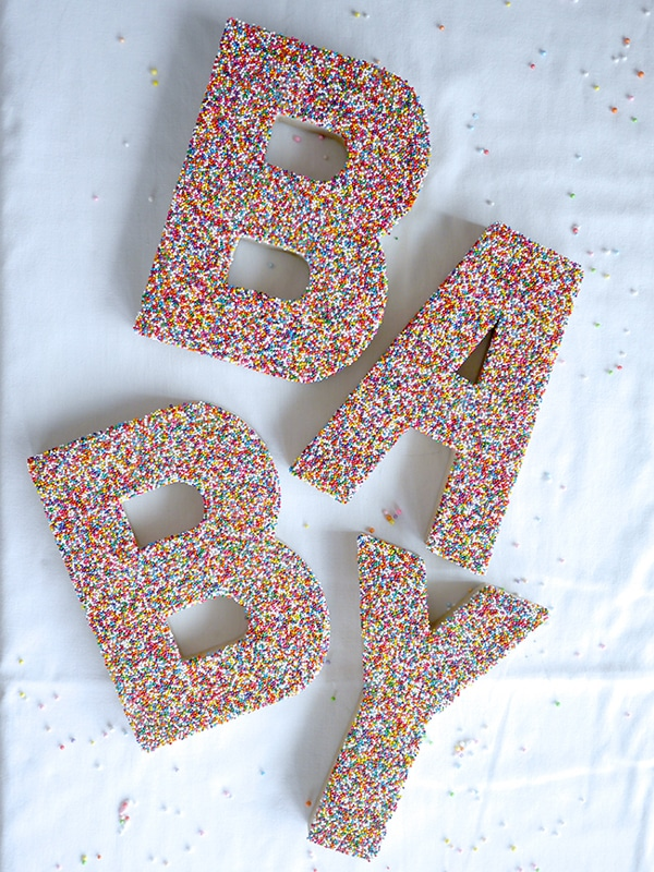 Sprinkle Baby Letter Decoration - Best Baby Sprinkle Ideas
