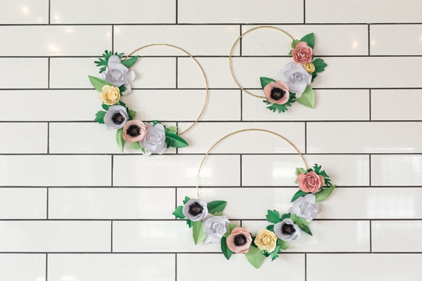Flower Themed Bridal Shower Hoop Wreath Decorations