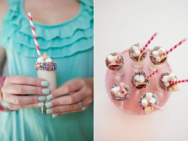 Mini Milkshake Shooters with Sprinkles - Best Baby Sprinkle Ideas